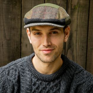 Green/Brown Kerry Patchwork Flat Cap