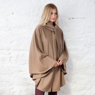 Hourihan Camel Single Faced Short Cape with Cashmere & Wool Blend