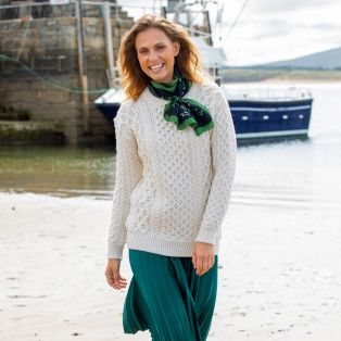 Classic Donegal Merino Blasket Aran Sweater Mountain Green
