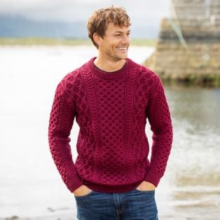 Mens Blasket claret Aran Sweater