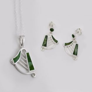 Connemara Marble Harp Pendant & Earrings Set