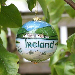 Handpainted Irish Scene Glass Hanging Ornament