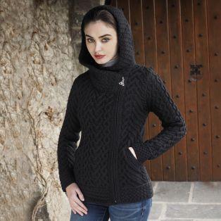 Kilkenny Black Aran Hooded Cardigan