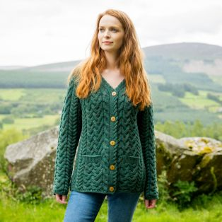 Ladies Forest Green Moher Aran Cardigan