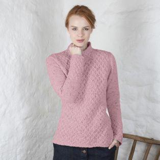 Pink Blush Merino Cashmere Wool Trellis Sweater
