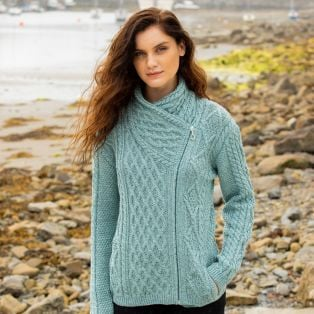 Lough Ree Aran Aran Zipper Cardigan