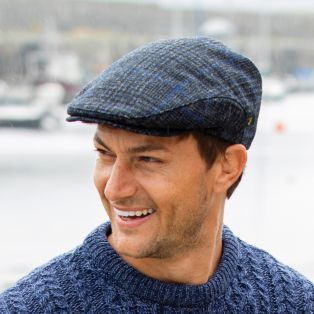 Blue Gray Check Irish Flat Cap