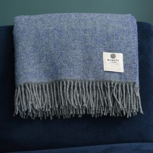 Mc Nutt Blue Periwinkle Wool Throw