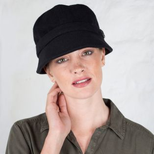 Black Wool Flapper Cap