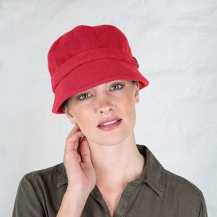 Red Wool Flapper Cap