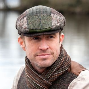 Mens Irish Tweed Patchwork Cap