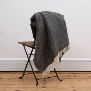 Mc Nutt Storm Gray Herringbone Blanket