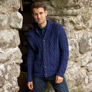 Mens Ardmore Shawl Collar Aran Sweater