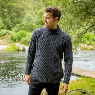 Mens Glengarriff Charcoal Aran Sweater