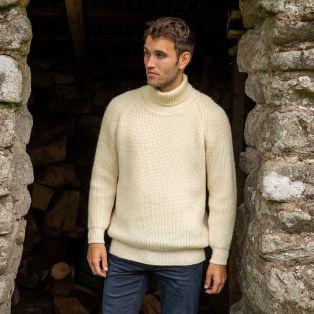 Mens Roll Neck Fishermans Irish Sweater