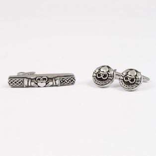 Mullingar Pewter Claddagh Tie Pin & Cufflinks Set