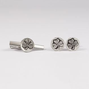 Mullingar Pewter Shamrock Tie Pin & Cufflinks Set