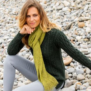 Womes Light Green Alpaca Islander Scarf