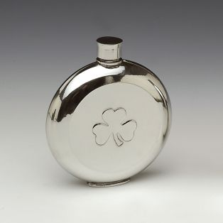 Mullingar Pewter Shamrock Whiskey Flask