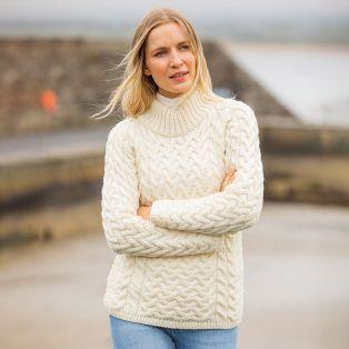 Sheelin Orange Aran Cable Sweater