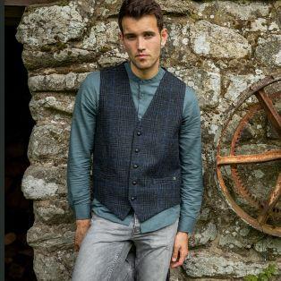 Navy Irish Tweed Men's Waistcoat