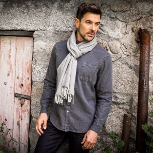 Men's Herringbone Lambswool Scarf