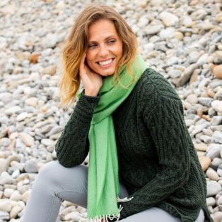 Ladies' Herringbone Lambswool Green Scarf