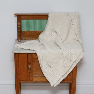 Cream Diamond Aran Blanket