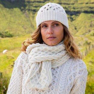 Womens Cream Cozy Aran Hat & Scarf Set