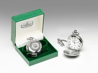 Personalized Mullingar Pewter Shamrock Pocket Watch