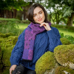 Purple Celtic Wool Scarf