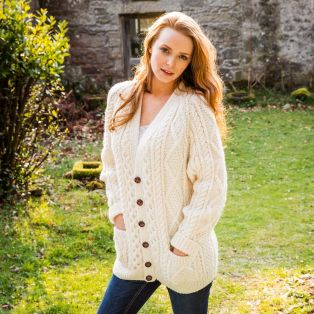 Women's Malin Hand Knit Aran Cardigan