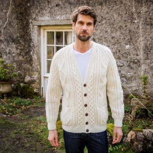 Men's Malin Hand Knit Aran Cardigan