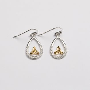 Gold Plated Trinity Knot Drop Earrings