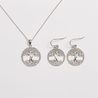 CZ Tree of Life Jewelry Set
