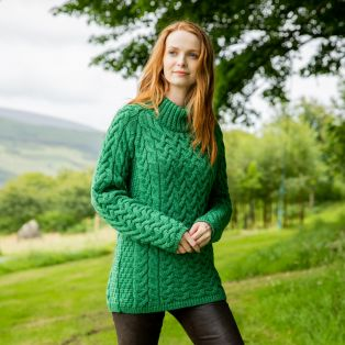 Sheelin Green Aran Cable Sweater
