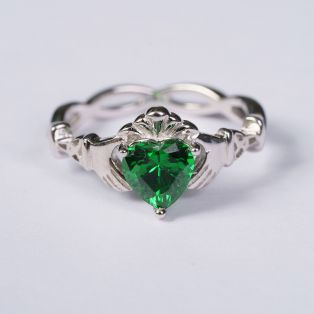 Silver Green Stone Claddagh Ring