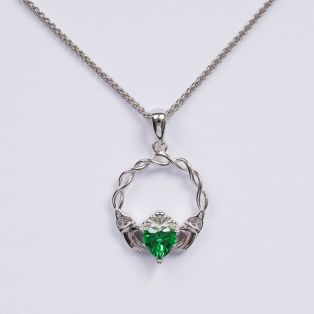 Silver Green Stone Claddagh Pendant