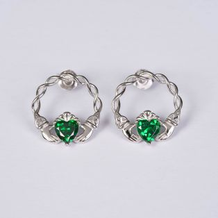 Silver Green Stone Claddagh Stud Earrings