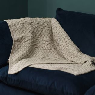 Silver Marl Aran Throw
