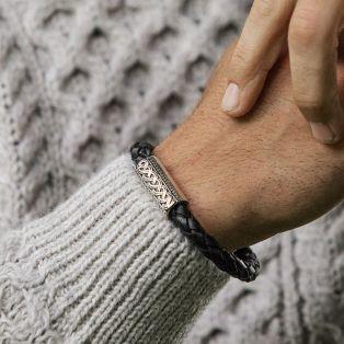 Silver & Leather Celtic Knot Bracelet