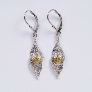 Solstice Trinity Earrings with18K Gold Bead