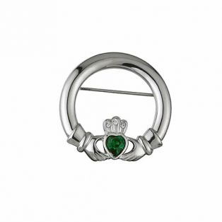 Rhodium Claddagh Brooch With Crystal