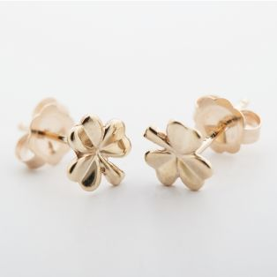 14K Small Shamrock Stud Earrings