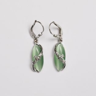 Claddagh Cat's Eye Drop Earrings