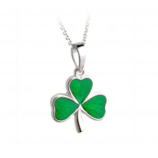 Irish Sterling Silver Enamel Shamrock Large Pendant