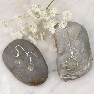 Connemara Marble Disc Earrings & Pendant Jewelry Set