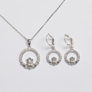 Sterling Silver Claddagh Drop Earrings & Pendant Jewelry Set