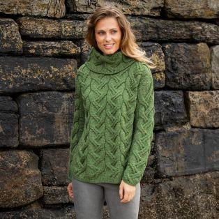Comeragh Aran Turtleneck  Green Sweater