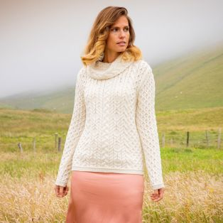 Womens Doonbeg Cream Aran Sweater
